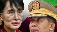 Aung San Suu Kyi dan Min Aung Hlaing. (Abdillah/Liputan6.com)