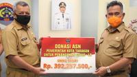 Secara simbolis dana yang terkumpul diserahkan oleh Sekretaris Daerah, A. Hamid kepada Wali Kota Tarakan, Dr. H. Khairul, M.kes.
