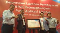 Direktur Utama LinkAja Danu Wicaksana dalam acara  peluncuran fitur pembayaran BPJS Ketenagakerjaan melalui aplikasi LinkAja.