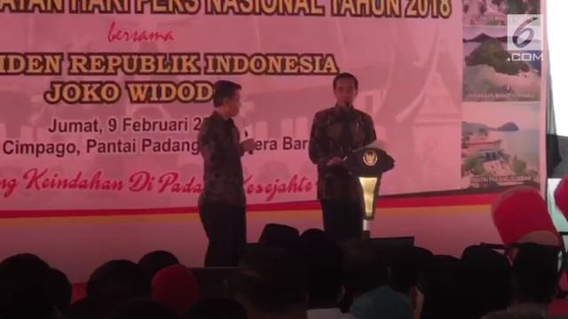 Presiden Jokowi menghadiri puncak Hari Pers Nasional (HPN) 2018 di Padang, Sumatra Barat.