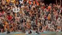 Festival umat Hindu di India untuk melakukan ritual mandi bersama yakni Kumbh Mela di Sungai Gangga. Festival ini dilakukan di tengah masa pandemi COVID-19. (Foto: AP)