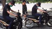 Crazy Rich Surabaya naik motor pertama kali (TikTok/@andysugarr)