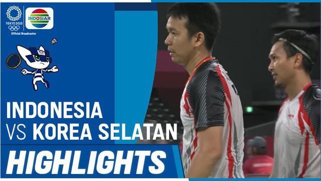 Berita video highlights kemenangan pasangan Indonesia, Mohammad Ahsan / Hendra Setiawan, pada laga ketiganya di Grup D bulutangkis ganda putra Olimpiade Tokyo 2020, Selasa (27/7/2021) siang hari WIB.