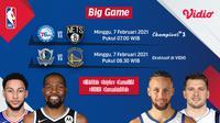 Big game NBA, Mavericks vs Warriors, Minggu (7/2/2021) pukul 08.30 WIB dapat disaksikan melalui platform streaming Vidio. (Dok. Vidio)