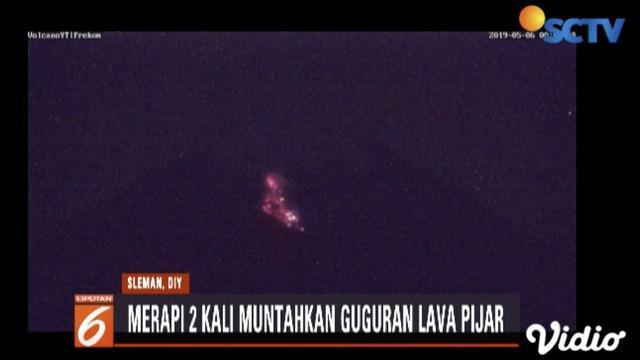 Senin dini hari Gunung Merapi muntahkan dua kali lava pijar dengan jarak luncur capai 950 meter.