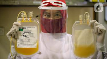 Staf Laboratorium Palang Merah Indonesia (PMI) Kota Tangerang menunjukkan stok darah yang ada di Laboratorium PMI Kota Tangerang, Banten, Jumat (28/8/2020). PMI Kota Tangerang menyatakan ketersediaan stok darah berkurang drastis. (Liputan6.com/Angga Yuniar)