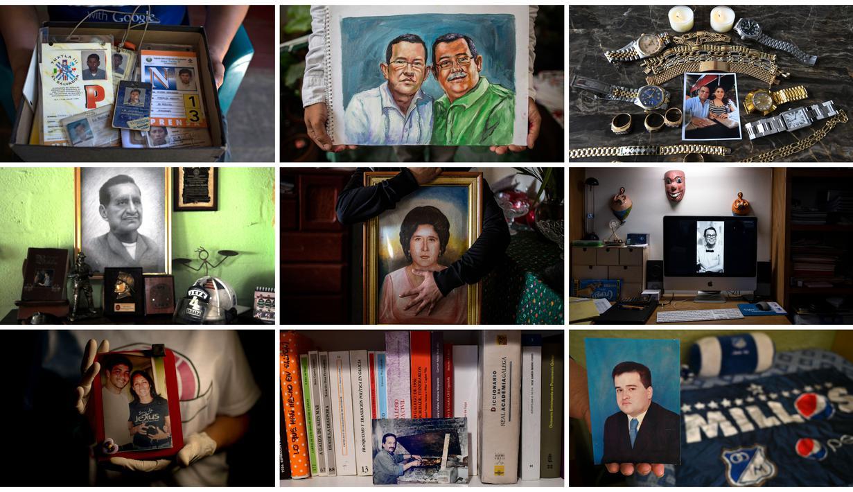 Kombinasi gambar yang dibuat pada 21 September 2020 ini menunjukkan potret dan barang milik korban virus corona COVID-19. (ERNESTO BENAVIDES, RONALDO SCHEMIDT, INTI OCON, JOSE SANCHEZ LINDAO, Yuri CORTEZ, Orlando SIERRA, Raul ARBOLEDA, Mauro Pimentel, Guillermo ARIAS/AFP)