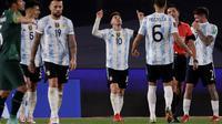 Lionel Messi mencetak tiga gol kemenangan Timnas Argentina atas Bolivia pada laga ke-10 kualifikasi Piala Dunia 2022 zona CONMEBOL, Estadio Monumental Antonio Vespucio Liberti, Jumat (10/9/2021) pagi WIB. (Juan Roncoroni/Pool via AP)
