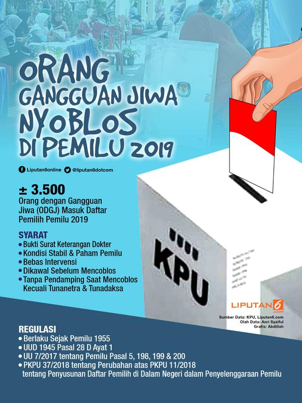 Infografis Orang Gangguan Jiwa Mencoblos di Pemilu 2019. (Liputan6.com/Abdillah)