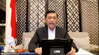 Menteri Koordinator Bidang Kemaritiman dan Investasi Luhut Binsar Panjaitan dalam pengumuman Pemberlakuan Pembatasan Kegiatan Masyarakat (PPKM) pada Senin (23/8/2021).