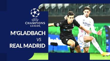 Berita motion grafis statistik Borussia Monchengladbach vs Real Madrid pada matchday kedua Liga Champions 2020-2021, Rabu (28/10/2020) dini hari WIB.