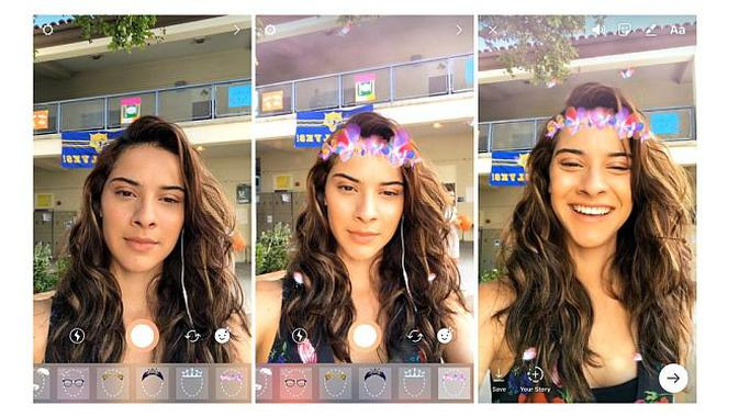 Instagram Stories kini memiliki filter wajah (Foto: Ist)