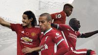 Duel Pemain Manchester United Vs Liverpool: Paul Pogba dan Cavani vs Thiago dan Sadio Mane. (Bola.com/Dody Iryawan)