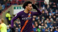 4. Leroy Sane (Manchester City) - Gelandang The Citizens ini merupakan pemain yang sangat cepat dan handal menggiring bola. Di gim FIFA 20 ia mempunyai kecepatan 95. (AFP/Paul Ellis)