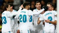 Para pemain Real Madrid merayakan gol yang dicetak Lucas Vazquez pada laga melawan Numancia (10/1/2018). (doc. Real Madrid)