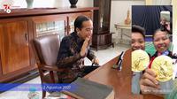Presiden Jokowi melakukan sambungan panggilan video dan mengucapkan selamat secara langsung kepada Greysia Polii/Apriyani Rahayu. (Foto: tangkapan layar dari Youtube Sekretariat Presiden).