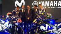 Pabrikan Jepang, Yamaha, memperkenalkan motor YZR-M1 untuk MotoGP 2018 di Matadero Madrid, Spanyol, Rabu (24/1/2018). (Twitter/Movistar Yamaha)