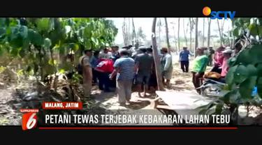 Korban diduga tewas akibat terjebak kebakaran lahan saat dirinya sedang membakar daun tebu kering di ladang.