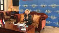 Duta Besar Russia di Indonesia Lyudmila Vorobieva, mengadakan konferensi pers secara teratur di Kedutaan Russia (Liputan6.com/Windy Febriana)