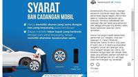 Syarat ban cadangan mobil (kemenhub151)