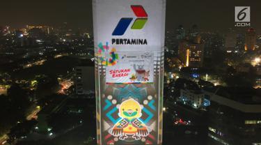 Keren, Video Raksasa Asian Games 2018 Hiasi Gedung Pertamina