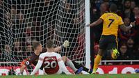 Arsenal sempat tertinggal dari Wolverhampton Wanderers lewat gol Ivan Cavaleiro. (AFP/Daniel Leal-Olivas)