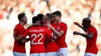 Para pemain Inggris merayakan gol Marcus Rashford ke gawang Kosta Rika. (doc. FA)