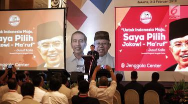 Wakil Presiden Jusuf Kalla memberikan paparan dalam Rapat Konsolidasi Nasional Jenggala Center di Jakarta, Minggu (3/2). Acara ini untuk menyatakan dukungan serta strategi memenangkan Joko Widodo-Ma'ruf Amin pada Pilpres 2019. (Liputan6.com/Faizal Fanani)