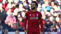 Salah baru-baru ini juga meraih gelar pemain terbaik afrika. Dengan penampilannya saat ini Mohamed Salah akan dibandrol 250 juta pound jika ada klub yang nekat ingin mendapatakan jasa pemain 26 tahun tersebut. (AFP/Geoff Caddick)
