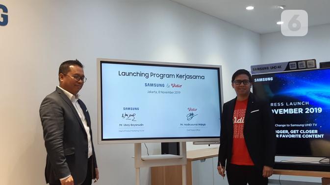 Ubay Bayanudin, Head of Product Marketing TV/AV SEIN dan Hadikusuma Wahab, Chief Product Officer Vidio. (Liputan6.com/ Agustinus Mario Damar)