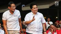 Inspiring Leader Sandiaga Uno (kiri) bersama Erick Thohir saat menghadiri acara Young Penting Indonesia di Jakarta, Sabtu (13/7/2019). Acara ini bertujuan untuk mempersatukan Indonesia. (Liputan6.com/JohanTallo)