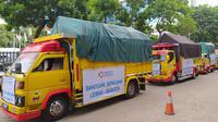 Kementerian Perindustrian (Kemenperin) melepas keberangkatan truk berisi bantuan, untuk korban banjir di Kabupaten Lebak, Banten.
