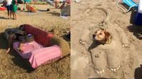 Kelakuan di pantai (Sumber: Boredpanda)