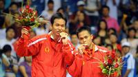 Hendra Setiawan dan Kido Markis, juara ganda putra Olimpiade Beijing 2008. (AFP/Goh Chai Hin)
