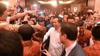 Jokowi beramah tamah dengan para warga negara Indonesia (WNI) yang tinggal atau bekerja di Korea Selatan. (Liputan6.com/Silvanus Alvin)