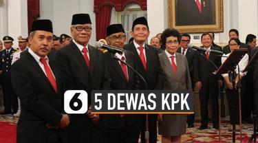 Lima Dewas KPK ucap sumpah jabatan di Istana Kepresidenan pada Jumat (20/12/2019).
