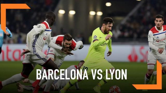 Barcelona bermain imbang dengan skor 0-0 saat menghadapi Lyon pada leg pertama babak 16 besar Liga Champions.