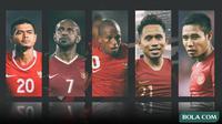 Trivia - Pemain Bambang Pamungkas, Boaz Solossa, Oktovianus Maniani, Andik Vermansah, Evan Dimas (Bola.com/Adreanus Titus)