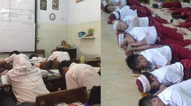 tidur di kelas (foto: brilio)