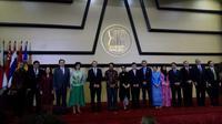Menlu Retno Marsudi berkomentar soal gempa Lombok di acara peringatan 51 tahun ASEAN. (Liputan6.com/Afra Augesti)