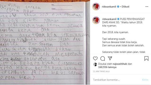 Ridwan Kamil Dapat Puisi Penyemangat Dari Anak Sd Seperti Apa