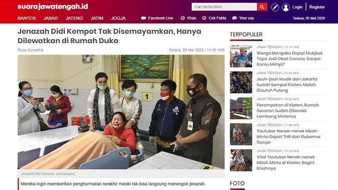 Gambar Tangkapan Layar Berita dari Situs suara.com