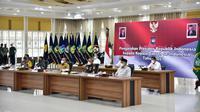 Gubernur Edy di Aula Tengku Rizal Nurdin, Jalan Sudirman, Kota Medan, usai Rakor secara virtual dengan Presiden Joko Widodo atau Jokowi dan Kepala Daerah se-Indonesia, Rabu (28/4/2021) (Istimewa)