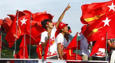 FOTO: Kampanye Pendukung Partai Aung San Suu Kyi Jelang Pemilu Myanmar