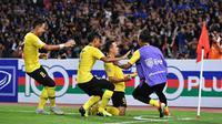 Pemain Timnas Malaysia merayakan gol ke gawang Thailand di Stadion Rajamangala, Bangkok, Rabu (5/12/2018). (Bola.com/AFF Suzuki Cup)