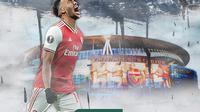 Penyerang Arsenal, Pierre-Emerick Aubameyang. (Bola.com/Gregah Nurikhsani)