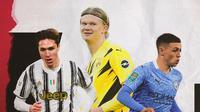 Erling Haaland, Phil Foden dan Federico Chiesa. (Bola.com/Dody Iryawan)
