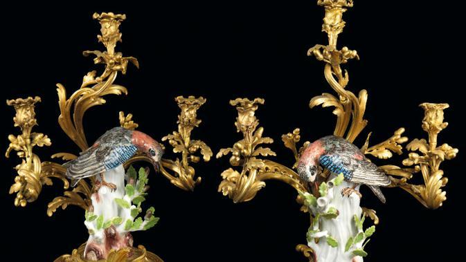 Kandelabra ini konon merupakan hadiah dari Raja Louis XV dari Prancis. Dok: Christie's