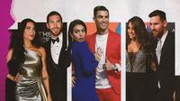 Cristiano Ronaldo dan Georgina Rodriguez, Lionel Messi dan Antonela Roccuzzo, Sergio Ramos dan Pilar Rubio. (Bola.com/Dody Iryawan)