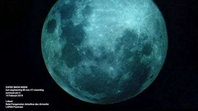 Balai Pengamatan Antariksa dan Atmosfer LAPAN Pasuruan menangkap fenomena Super Snow Moon. (Dokumentasi Lapan)